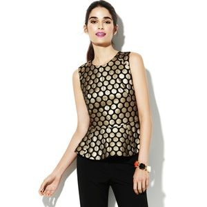Vince Camuto Black & Gold Polka Dot Peplum Top